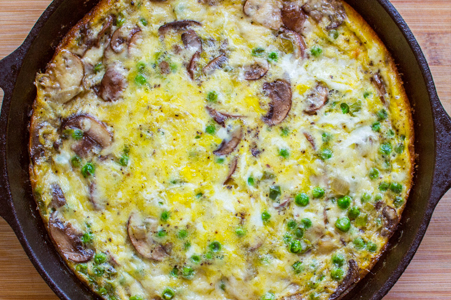 This mushroom frittata is the perfect thing for breakfast, brunch, lunch or dinner. Packed with vegetables and tangy cheese. So yum!