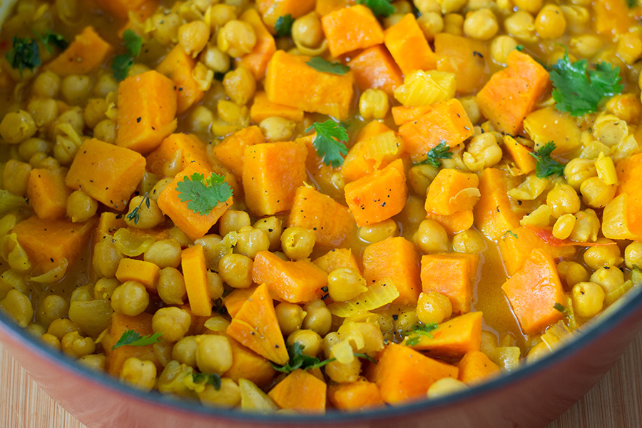 Harvest chickpea and sweet potato Curry is Simple, comforting, warming, and nutritious. Make it today and see why I almost ate the whole pot by myself.