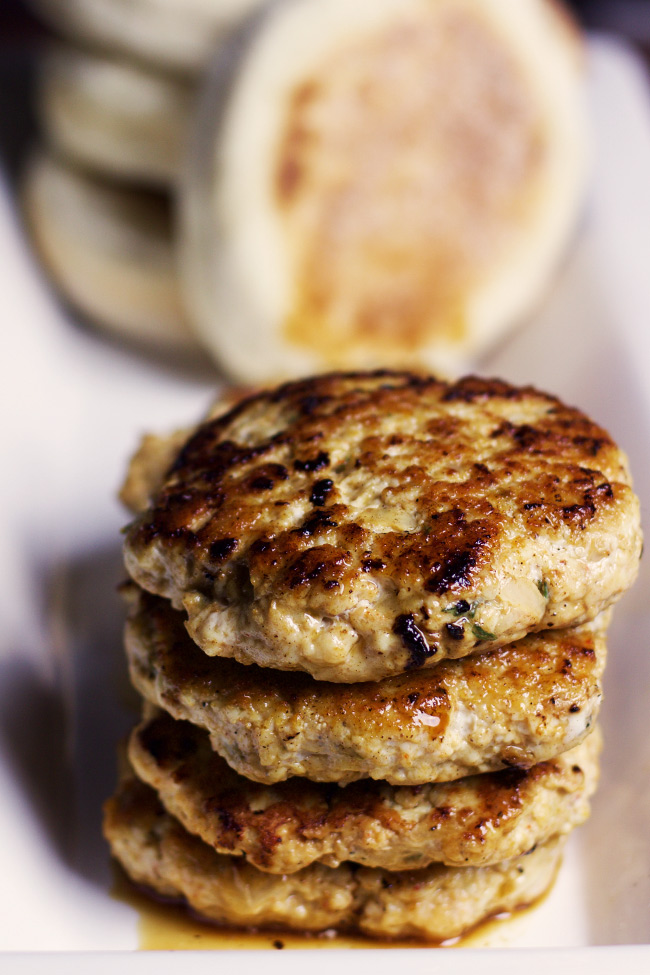 These easy country-style breakfast chicken sausage patties are savoy, juicy and jam-packed with herbs and spiced perfectly.