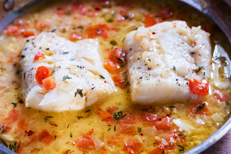 Cod With Tomato Thyme Sauce Cooking Maniac