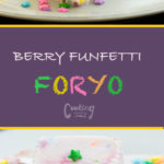 This berry funfetti froyo is super simple to make. All you need to make this is: Annie's Organic yogurt, Berries, Confetti candy, and marshmallows. Booya!