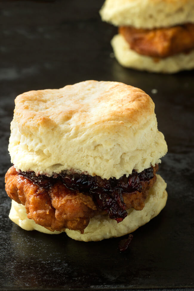 Over the top buttermilk chicken biscuit with blackberry habanero sauce is crispy, flaky a little sweet, spicy and a lot of delicious.