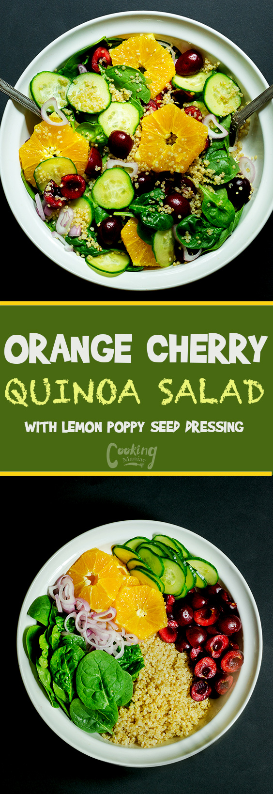 This orange cherry quinoa salad is quick and easy, it requires little cooking. This salad is covered in a lemon poppy seed dressing is perfection.