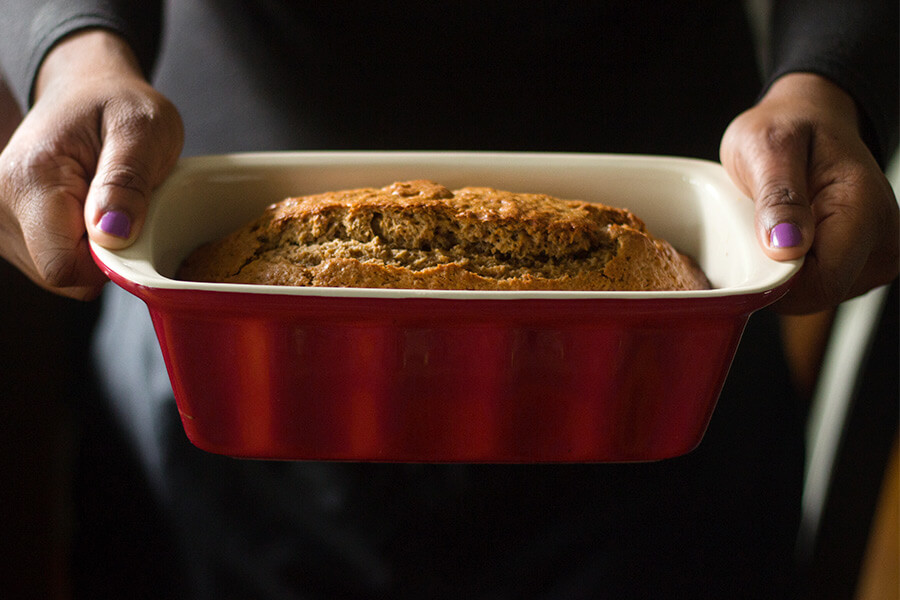 This banana bread recipe is lovingly called THE banana bread. It has brown butter, molasses, nutmeg, cinnamon and cardamom- delicious. Make it and love it.