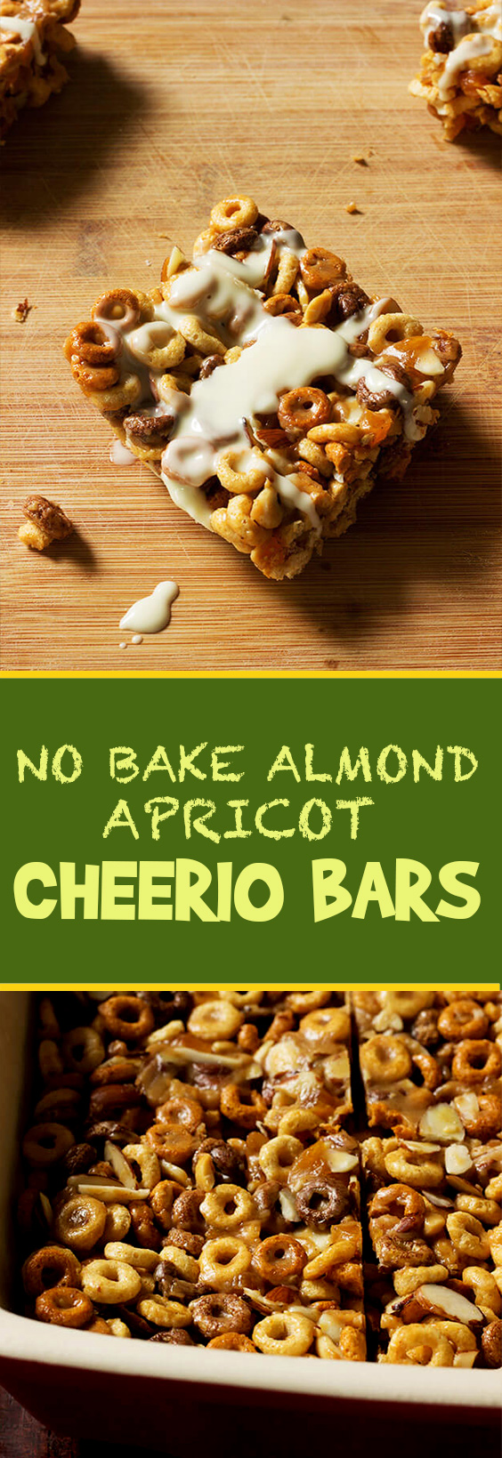 No Bake almond apricot Cheerio Bars has everything to fuel my day: Chocolate, peanut butter, almonds and multi-grain cheerios. Have in as a bar or in milk!
