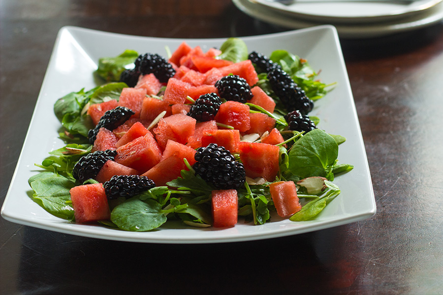 This blackberry watermelon salad is the perfect punctuation for the beginning of summer. The salad is tossed in a honey poppyseed dressing.