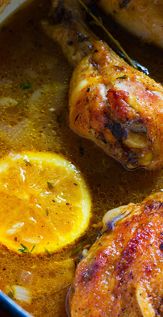 Orange cumin roast chicken is one of the easiest chicken recipes ever. Five basic ingredients add tons of flavor: cumin, honey, orange, onion & chicken.