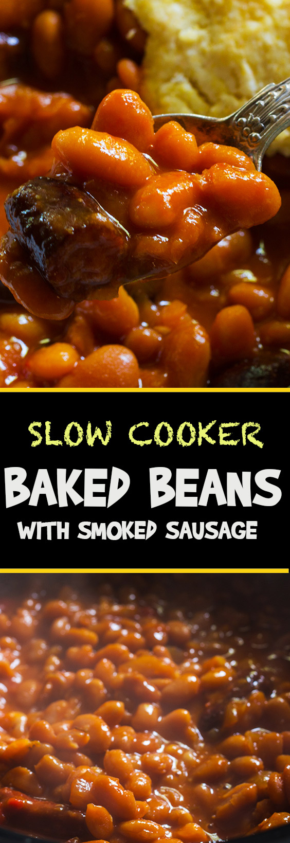 Just five basic ingredients: sausages, navy beans, molasses, sriracha and mustard. Super easy recipe for the best baked beans ever. make it today.