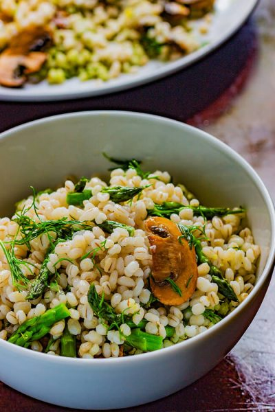 Mushroom Asparagus Barley Salad with Lemon Dill Dressing