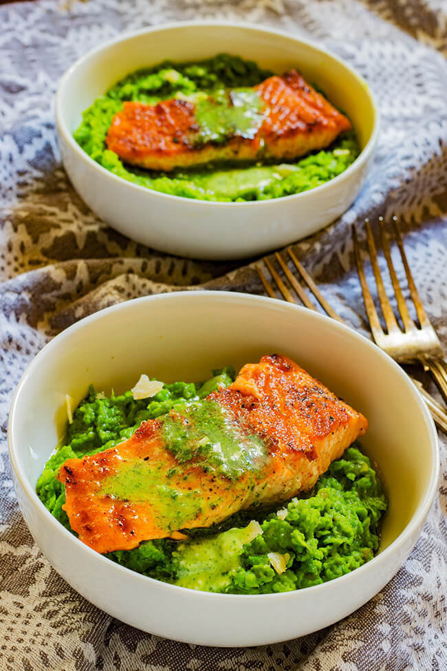 This easy Pan-Fried Salmon and Pea Puree recipe is quickly becoming a dependable weeknight staple. Creamy and Fresh pea puree is topped with crispy salmon.