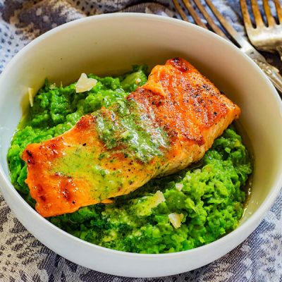 Pan-Fried Salmon and Pea Puree