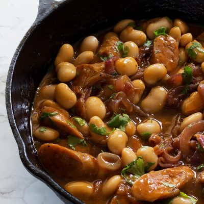 Sausage and Butter Beans in Onion Gravy