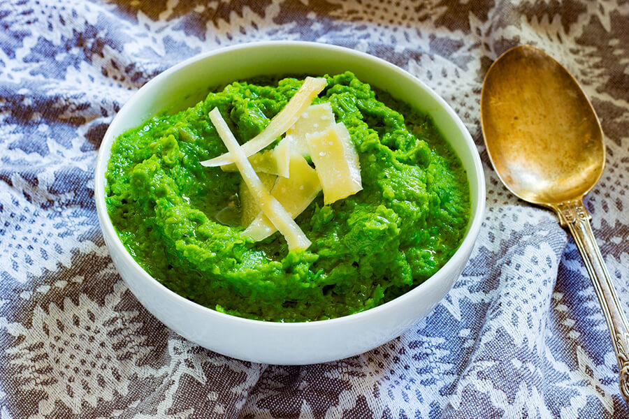 This super green pea puree is the perfect side recipe that is jam packed with wholesome goodness.