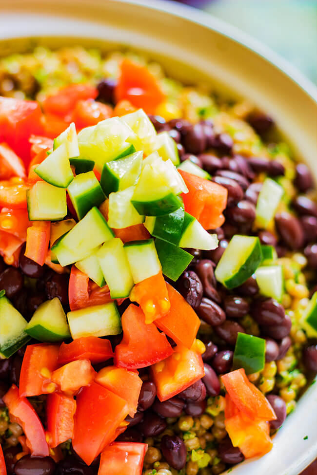 This Southwest Whole Wheat Couscous Salad is the perfect salad that is wholesome and flavorful but also very filling. Super easy to make and eat.