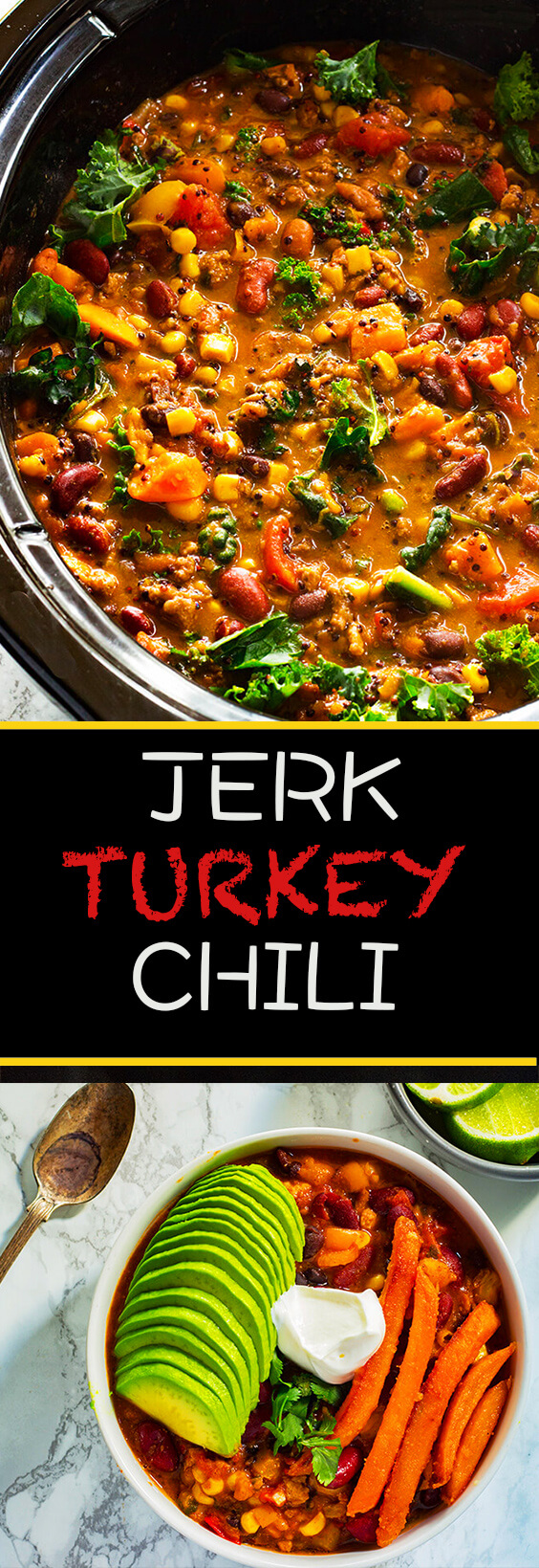 This Slow- Cooker Jerk Turkey Chili recipe is the perfect weeknight dinner. It has the right amount of spice to add some excite everyone. make it today.