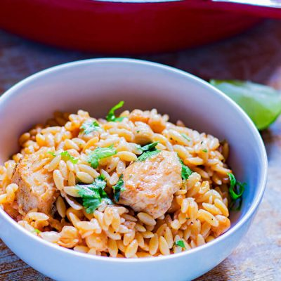 One pot Chicken Chickpeas and Orzo
