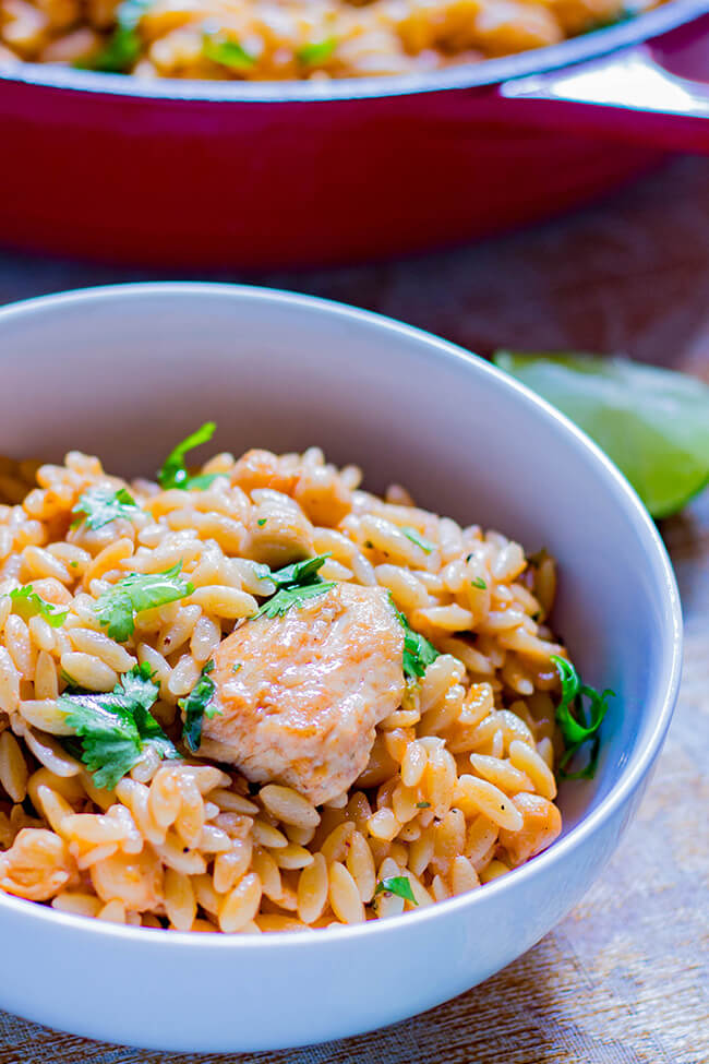One pot Chicken Chickpeas and Orzo has tons of protein and fiber but without that wretched diet feel. It was the perfect light but filling 30 minute dinner.
