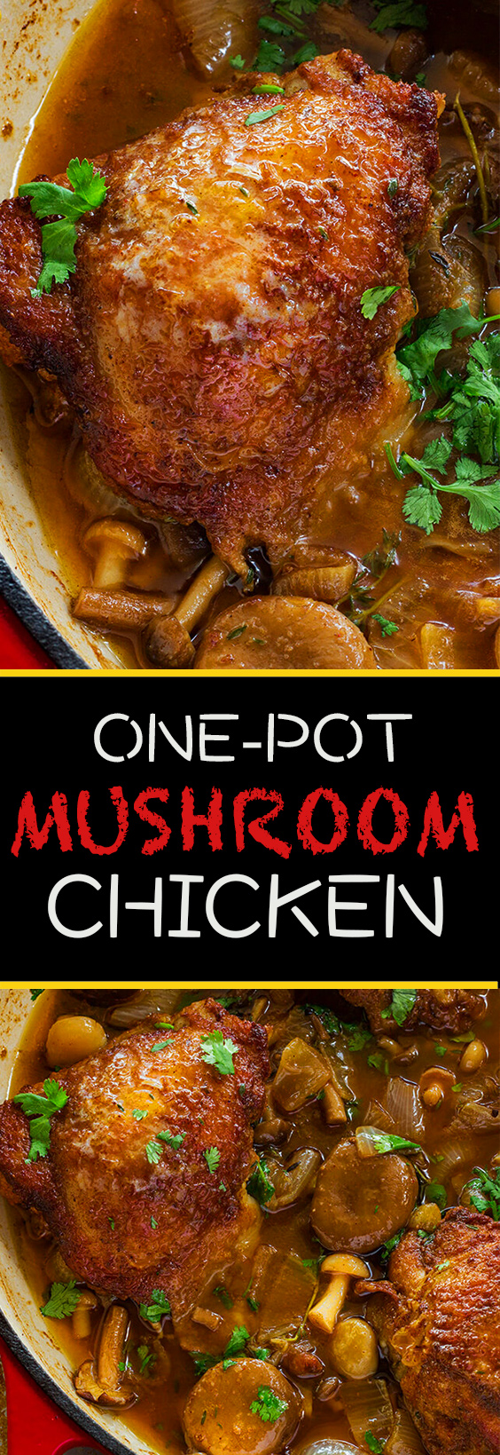 This easy mushroom and onion chicken dish topped with a savory sauce is such a tasty weeknight lazy weekend meal.