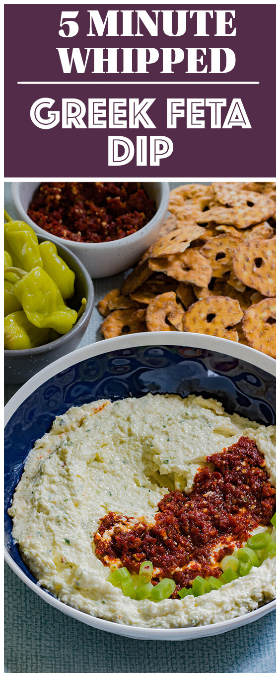 This Whipped Greek Feta Dip recipe is tang, a tad spicy and incredibly cream. It packs a punch to any chip or sandwich