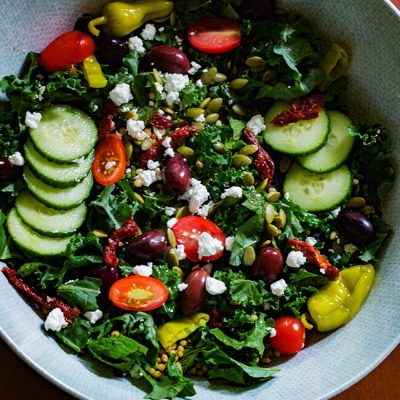 Minty Kale Greek Salad with Creamy Vinaigrette