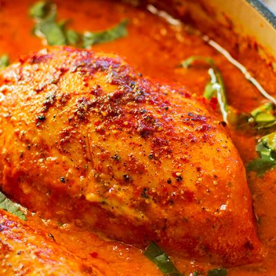 Creamy Roasted Red Pepper Chicken Skillet