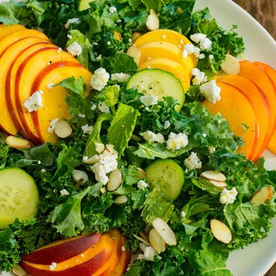 Peach and Goat Cheese Kale Salad