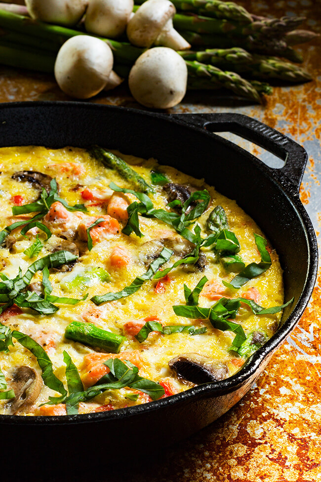 This Salmon Asparagus Mushroom Frittata recipe is perfect for brunch or a quick almost lazy dinner option.