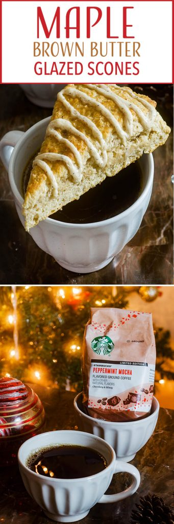 These Maple Brown Butter Glazed Scones are simple, delicious, and the ultimate cozy morning treat with a mug of hot Starbucks® Peppermint Mocha Flavored Ground Coffee. #AD #SavorHolidayFlavors
