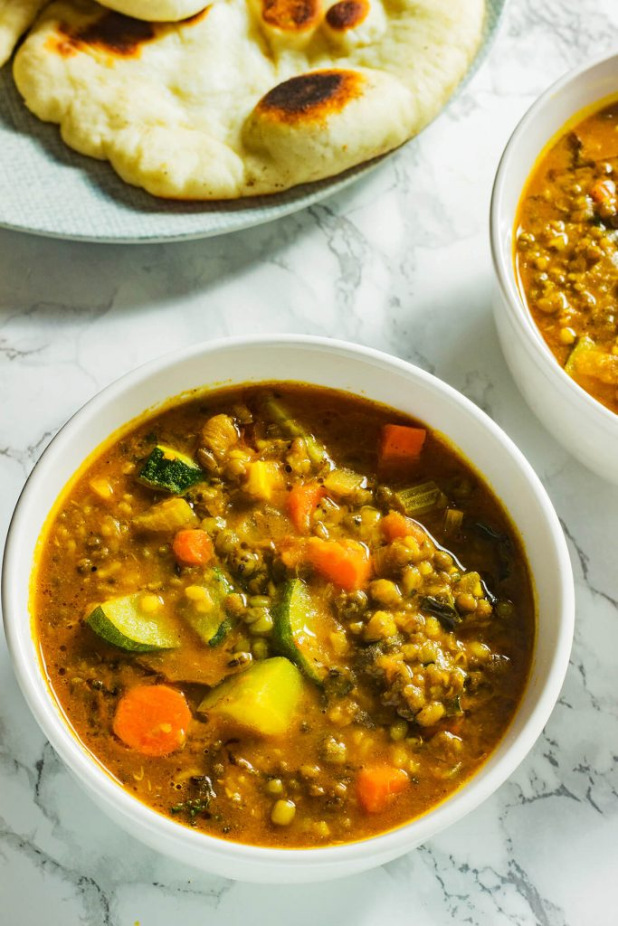 This mung bean soup hits every note for a perfect meal- it is warming and filling, creamy and chunky, spiced but not spicy. Serve it with fresh naan or toasted bread for an easy meal.