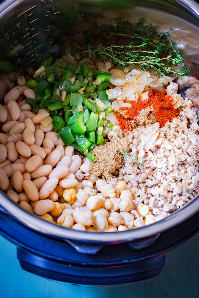 This Instant Pot White Bean Chicken Chili is warming, nutritious, filling and delicious. Plus it is packed with good vegetables and lean meat. Winning!